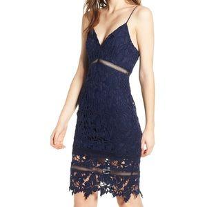 ASTR Lace Bodycon Dress NAVY PEACOAT blue NEW med